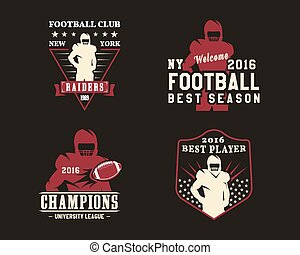 American football player, team badges, logos, labels, insignias in retro color style. Graphic vintage design for t-shirt, web. Colorful print isolated on a dark background. Vector