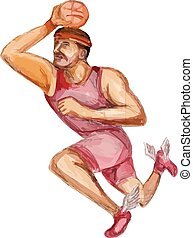 American Football Player Touchdown Caricature