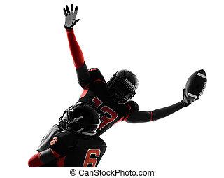 american football player touchdown celebration silhouette -...
