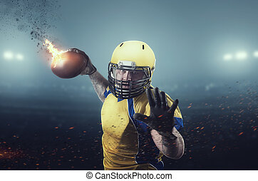 American football player with burning ball