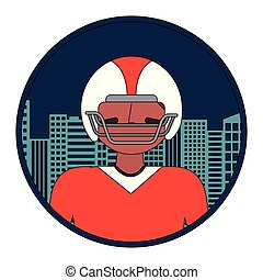 american football player with cityscape