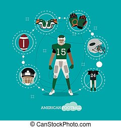 American football player with equipment. Sport concept vector illustration in flat style design