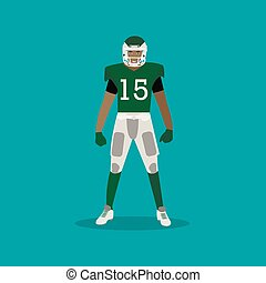 American football player with equipment. Sport concept vector illustration in flat style design.