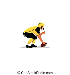 American football. Player with the ball. Vector Illustration.