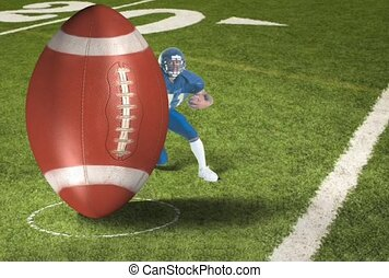 American Football Players and Ball