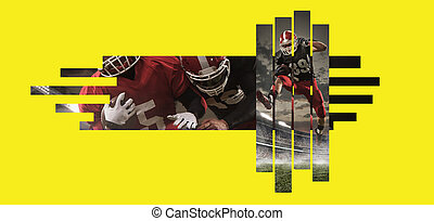 American football players in action against yellow copyspace