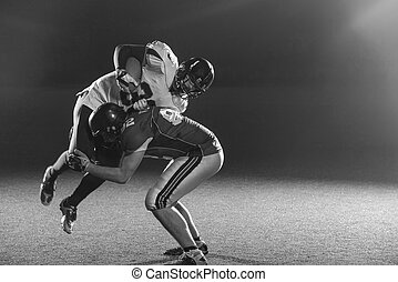 American football players in action