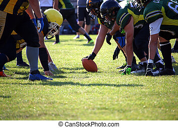 American football players on the scrimmage line sport