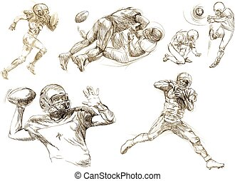 american football players pack - an hand drawn vector...