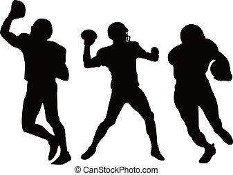 american football players silhouett - three american...