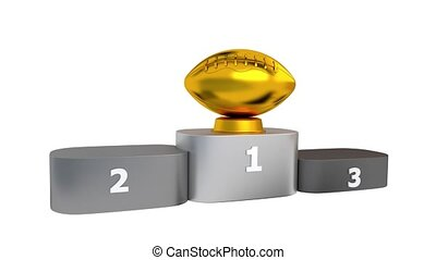 American Football Podium with Gold Silver and Bronze Trophy Appearing