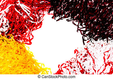 American football pom poms isolated on white background. Copy space in center.