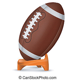 American Football Poster with Ball and Stand, vector icon...