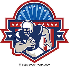 American Football QB Quarterback Crest - Illustration of an...