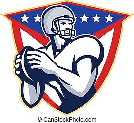 American Football Quartback Throw Ball - Illustration of an...