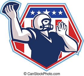 American Football Quarterback Shield - Illustration of an...