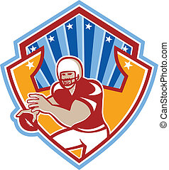 American Football Quarterback Star Shield - Illustration of...
