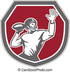 American Football Quarterback Throw Ball Shield Retro