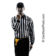 american football referee gestures facemask silhouette -...