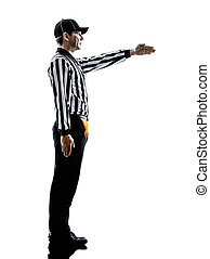 american football referee gestures first down silhouette - ...