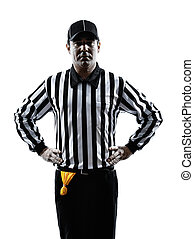 american football referee gestures offside silhouette