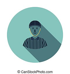 American football referee icon. Flat color design. Vector...