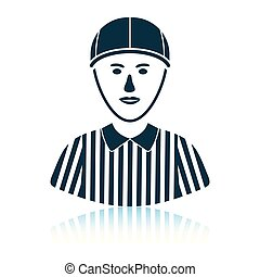 American football referee icon. Shadow reflection design....