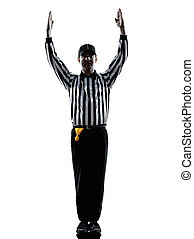 american football referee touchdown gestures silhouette -...