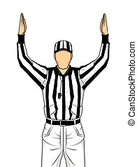 American football referee with both hands up as a touchdown...