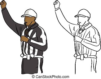 American football referee with hand gesture vector illustration sketch doodle hand drawn with black lines isolated on white background