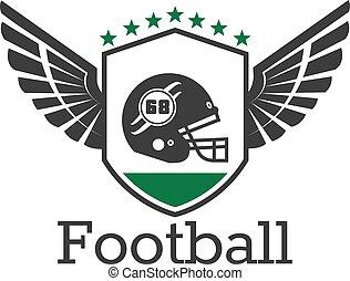 American football retro icon with helmet on shield