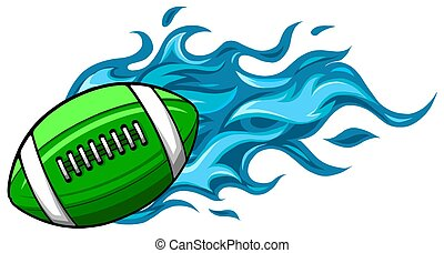 Illustration of a cartoon american football ball flying inside comet fire with burning flames