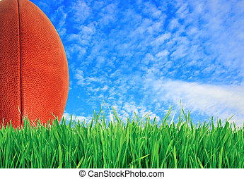 American football (rugby ball) on green grass over blue sky, close up