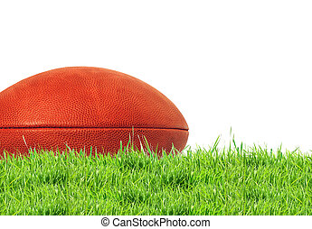 American football (rugby ball) on green grass over white, close up