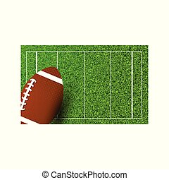 American football Rugby on field of stadium. Vector illustration.