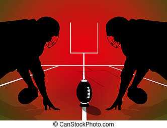 American football rugby players silhouette