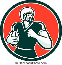 American Football Running Back Circle Retro