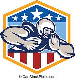 American Football Running Back Fend-Off Crest - Illustration...