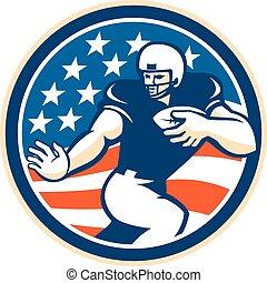 American Football Running Back Fending Circle - Illustration...