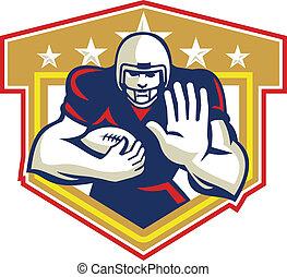 American Football Running Back Fending Shield