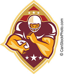 American Football Running Back Star Ball - Illustration of...