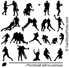 american football silhouettes - set of american football...