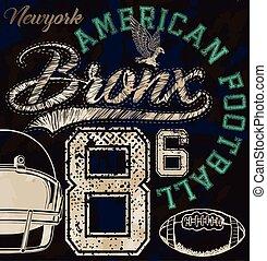 American Football Sport college training typography, t-shirt graphics, vectors