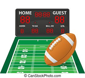 american football sports digital scoreboard vector illustration