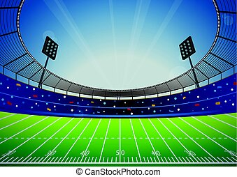 American Football Stadium Arena - American Football field...