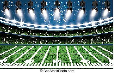 American Football Stadium Arena with Spotlights. Vector...