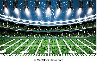 American Football Stadium Arena with Spotlights.
