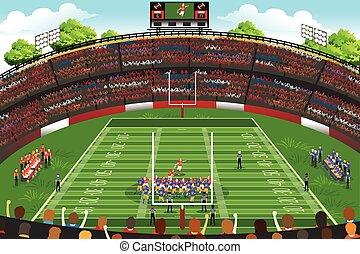 American Football Stadium Scene - A vector illustration of...