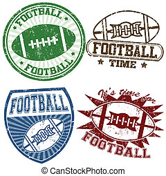 Set of american football grunge rubber stamps, vector illustration