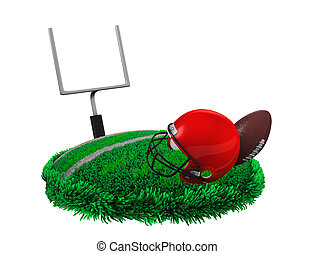 American football - 3d rendering, creative concept image...
